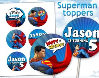 Superman Cupcake toppers Printable digital toppers for Superman birthday party