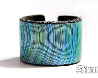 Blue cuff bracelet Colorful bangle Cheerful bracelet Blue and green bangle Blue bracelet Blue bangle gift Handmade jewelry Statement bangles