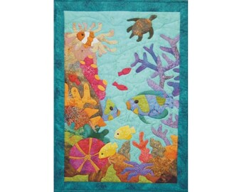 Reef Life an appliqued and quilted pattern producing a world of underwater life