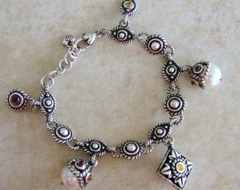 Fashion Faux Pearl Colored Glass Silvertone Designer Inspired Charm Bracelet