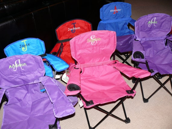 Personalized kids 39 camp or beach chair for Monogrammed kids chair