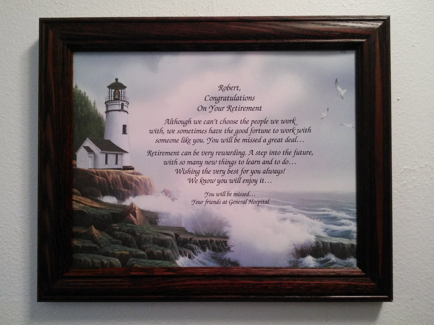 Retirement Gift Personalized Poem Framed 12 X 9 5