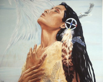 Print eagle Native American Indian maiden prayer spiritual