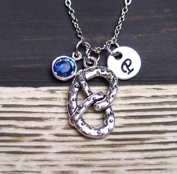 initial necklace pretzel necklace birthstone by vespestudio