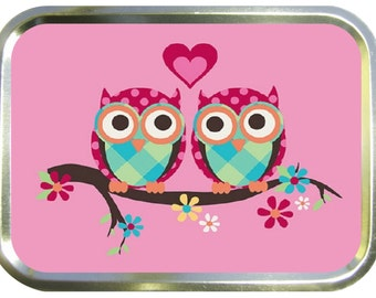 Pink love owls design 2oz gold tobacco tin,pill box,storage tin