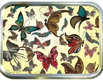 Fawn butterfly design 2oz gold tobacco tin,pill box,storage tin