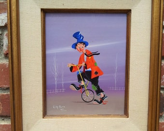 Original Oil Clown On Unicycle Signed Unknown Artist 1968 On Board