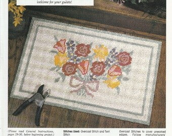 Floral Doorstep Rug Made from Plasic Canvas