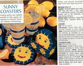 Cute Sun Coaster Set to Brighten Your Day in Plastic Canvas