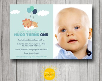 Boy Birthday Invitation Personalised Printable Any Age Lion with Balloons Jungle