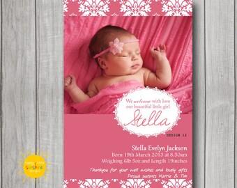 Personalised Girl Announcement Photo Printable Dark Pink Damask