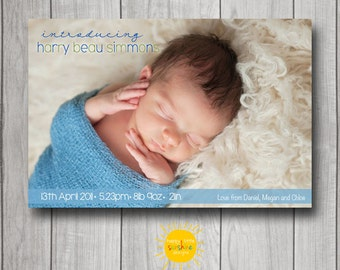Personalised Boy Announcement Photo Printable Modern Elegant