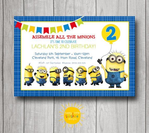 Amato Invito di compleanno ragazzo personalizzato stampabile Minion CJ09