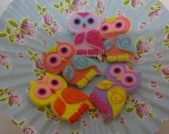 Cute kawaii mix colours owl cabochon set of 5 owls embellishments 22X35mm resin cabochon flatback scrapbook embellishment DIY phone