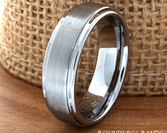 Crosses Tungsten Wedding Band Ring Stepped Edges Customized Tungsten Band Any Design Laser Engraved Ring Mens Tungsten Ring Anniversary 6mm
