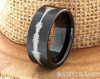 Soundtrack Tungsten Wedding Band Sound Wave Tungsten Wedding Ring Mens Tungsten Ring Customized Tungsten Band Any Sound Wave Ring Engraved