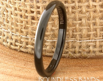 Black Tungsten Wedding Ring Domed High Polished Customized Tungsten Ring Anniversary Band His Hers Traditional Wedding Ring Stackable Ring