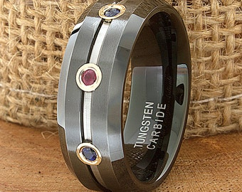 Ruby Sapphire Tungsten Wedding Band Ring Flat Beveled Customized Band Laser Engraved Ring Mens Design Modern Color Stone Black Anniversary