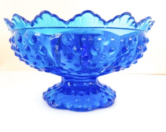 Fenton Art Glass Candle Bowl - Hobnail (Colonial) Blue