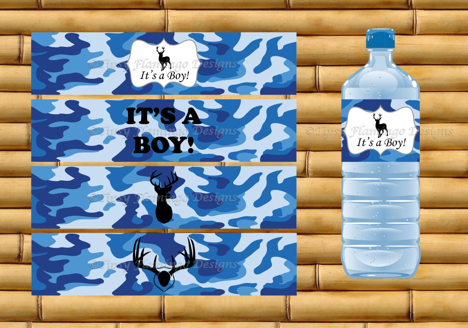 Blue Camouflage Party Decorations Baby Shower Water Bottle Labels Its A Boy Party
