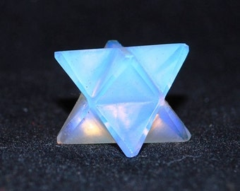 Opalite Hand Cut Crystal Merkaba Star Stone