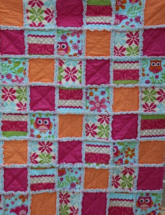 Rag Quilt Owl Pattern : Items similar to Owl Rag Quilt on Etsy