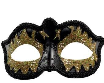 Glitter Swan Eyes Masquerade Mask Gold