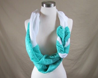 Braided Infinity Scarf in Blue and White Handmade Lightweight Scarf Spring Scarf Summer Scarves