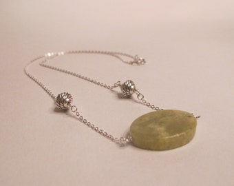 Olive New Jade Gemstone Pendant Necklace on Sterling Silver filled chain
