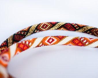 Ethno.Beads necklace.Bead Crochet.Gold.Rope.Geometric.Orange. Black.Ukrainian.Аntique bronze