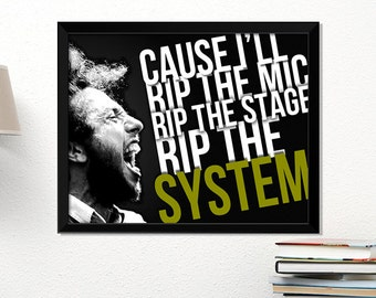 Rage Against the Machine poster, rock poster, Zack de la Rocha, music art, typography art