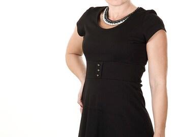 Plus Size Black mini dress  tunic dress Day dress A line dress with round neckline from jersey