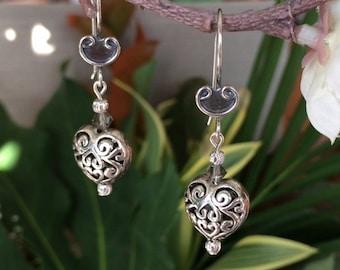 Sterling Silver Filigree Heart Earrings, Filigree Earrings, Heart Silver Earrings, Antique Silver Earrings, Swarovski Crystal Earrings