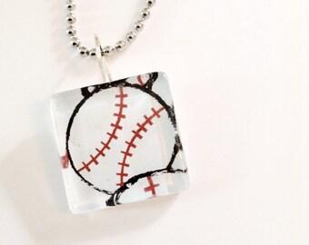 Baseball glass pendant