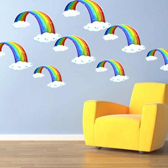 Rainbow Wall Decor Stickers : Nursery rainbow bedroom decals wall decor peel and stick