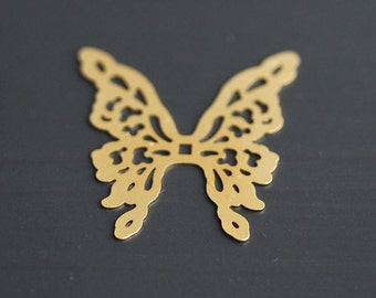 P1-680-MG] Butterfly / 31 x 36mm / Matt Gold plated / Pressed Pendant / 2 pieces