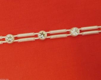 Stunning Crystal Beaded Rhinestone Diamante Ribbon Trim Bridal Wedding Chain- Pearl 0827