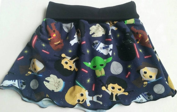 Girls yoga waist skirt with star wars inspired fabric. Yoda, Luke, darth, r2d2, chewbacca, Obi Wan, leia and Han Solo