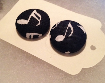 Music Note Fabric Button Earrings
