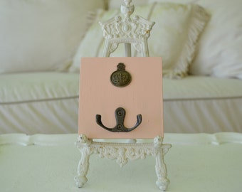 a wood wall hook/   hook plaque/pink hook/shabby chic hook