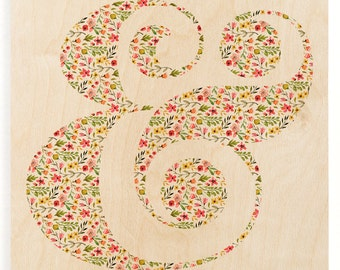 Flower Ampersand Wood Print