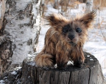 Handmade doll posable forest little dog