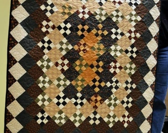 """9-Patch Primitives Wall Hanging or small Lap Quilt; small wall hanging; quilted table topper; 36"""" x 45"""""""