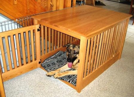 items similar to extra large wood dog crate furniture custom made to order on etsy