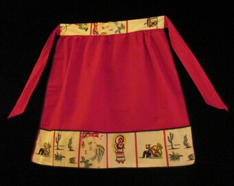 Vintage 1940's Red Half Apron with Mexican Motif