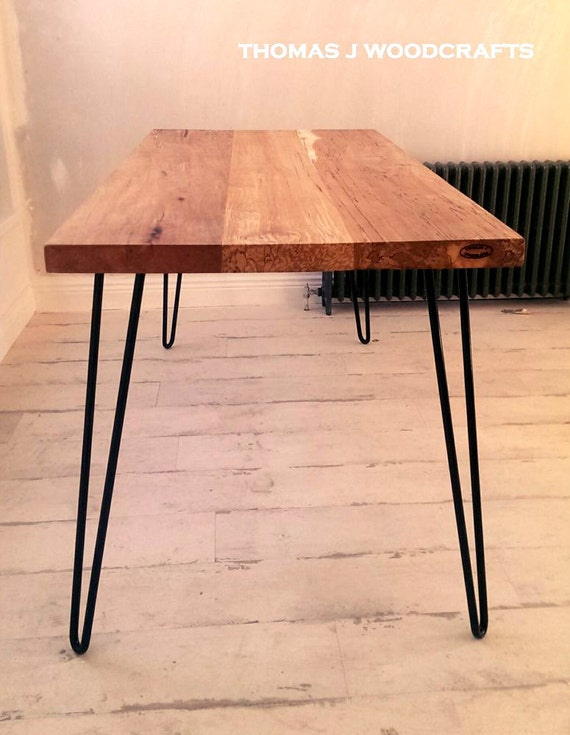 irish spalted beech dining table with hairpin legs. Black Bedroom Furniture Sets. Home Design Ideas
