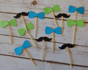 Little Man Mustache & Bow Tie Cupcake Toppers -- Birthday - Baby Shower