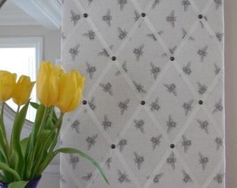40cmx60cm fabric notice board, Fryett's bee print 100% cotton fabric