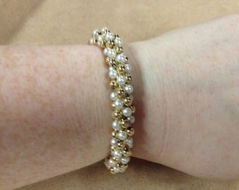 Vintage Goldtone Beaded and Faux Pearl Stretch Bracelet, Length 7''