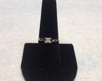 Vintage 925 Sterling Silver CZ Design Ring, Size 8